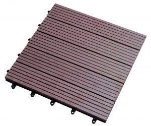 Caillebottis en bois composite LAMEO, coloris brun